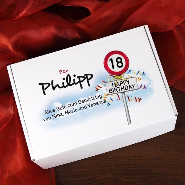 18 Geburtstag Geschenkideen  Geschenkbox zum 18 Geburtstag mit Verkehrszeichenmotiv