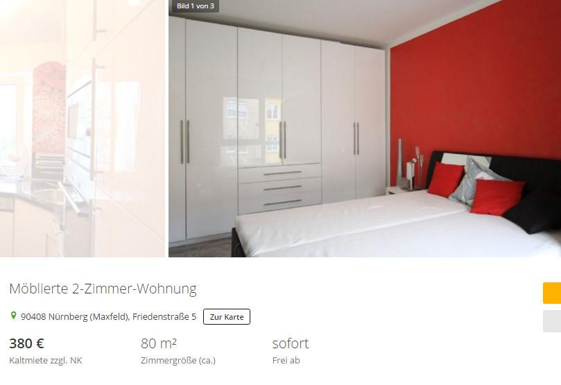 2 Zimmer Wohnung Nürnberg  wohnungsbetrug Möblierte 2 Zimmer Wohnung