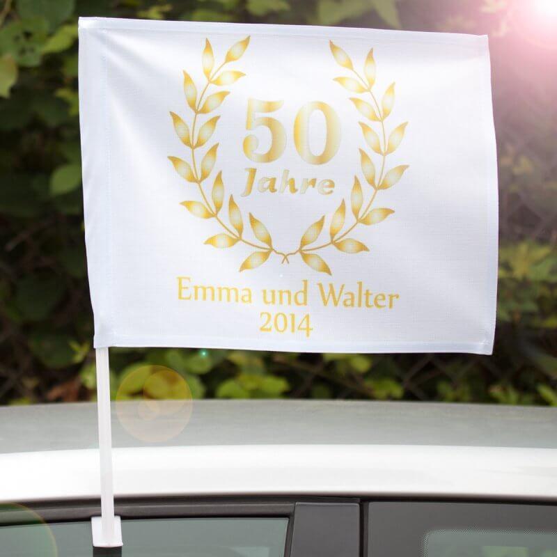 """50 Jahre Miteinander Zur Goldenen Hochzeit  Autofahne """"50 Jahre Goldene Hochzeit"""""""