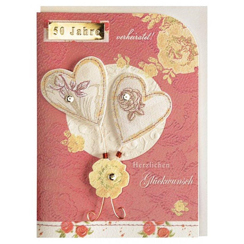 50 Jahre Miteinander Zur Goldenen Hochzeit  Glückwunschkarte Goldene Hochzeit 50 Hochzeitstag Herzen