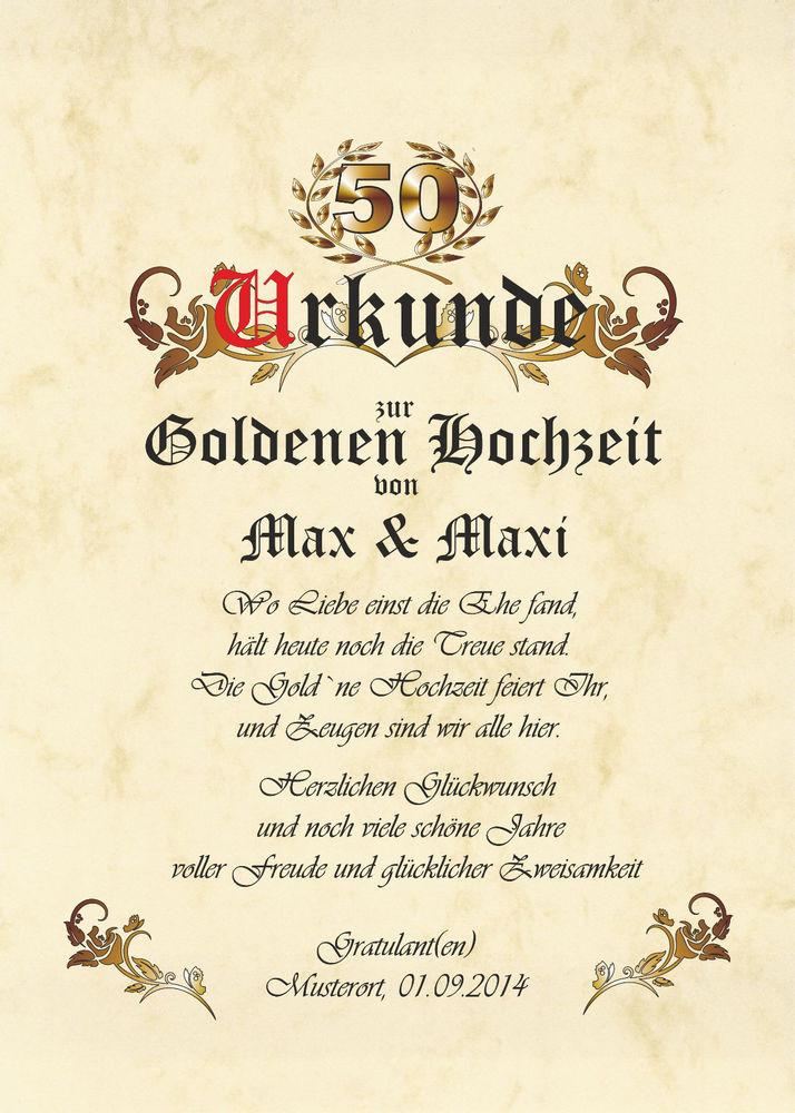 50 Jahre Miteinander Zur Goldenen Hochzeit  50 Jahre Goldene Hochzeit Urkunde zur Hochzeit Geschenk