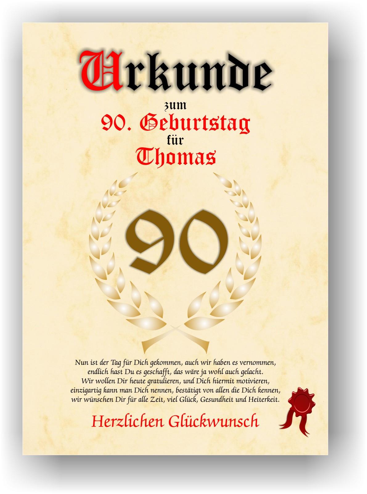 90 Geburtstag Zitate  Urkunde zum 90 GEBURTSTAG Geschenkidee Geburtstagsurkunde