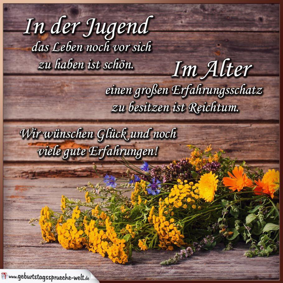 90 Geburtstag Zitate  Glückwünsche zum Geburtstag mit Blumen auf Holz