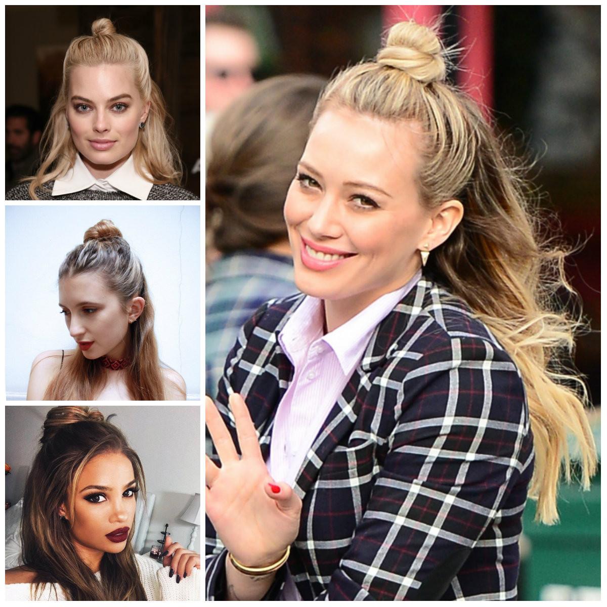 90Er Frisuren Damen  90er Jahre Inspiriert Hälfte Bun Frisuren für Lange Haare