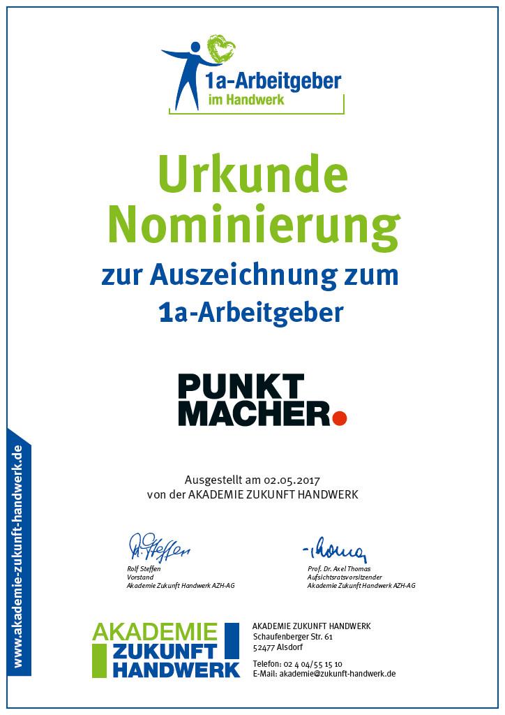 Akademie Zukunft Handwerk  Nominierung zum 1a Arbeitgeber
