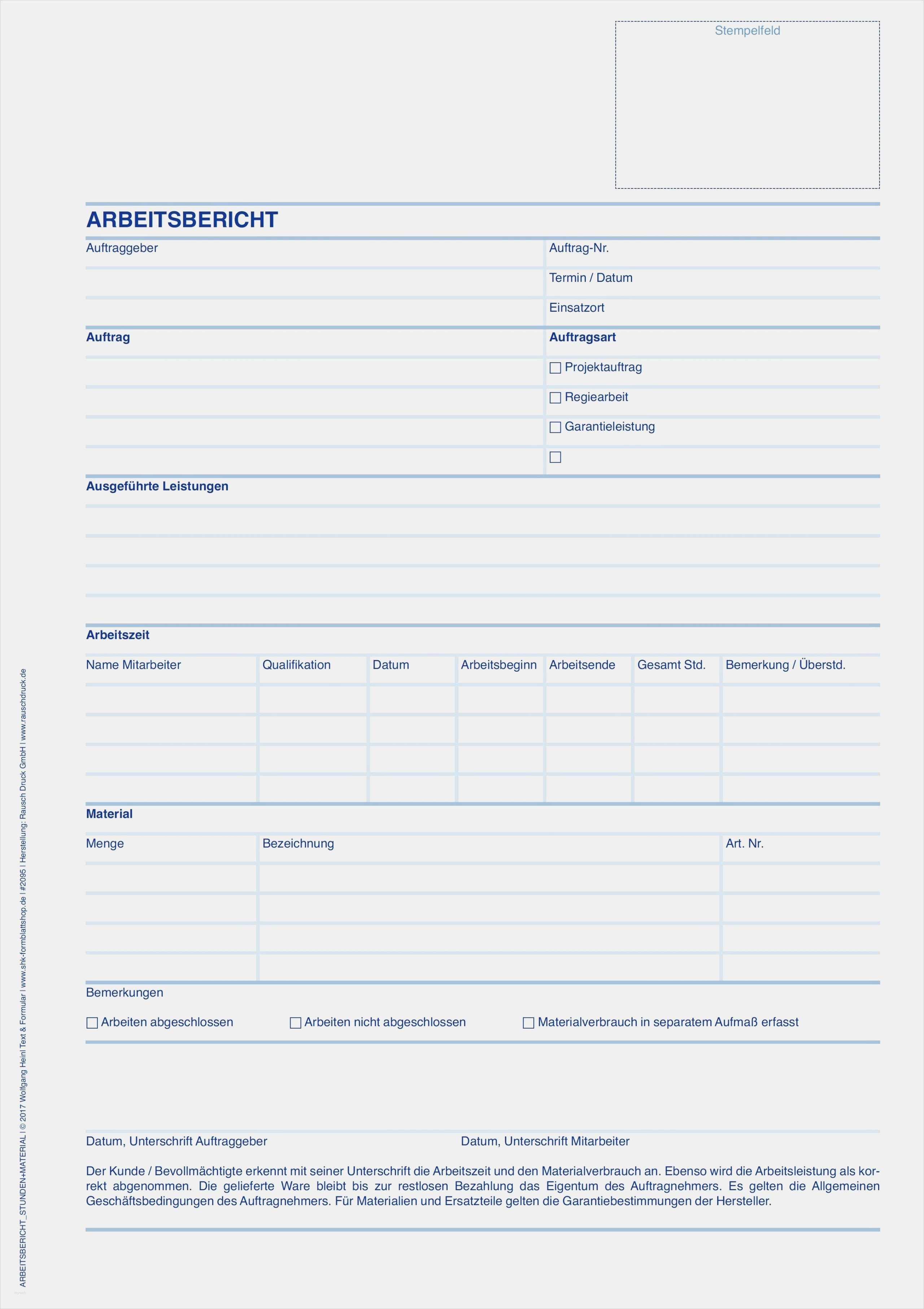 Arbeitsbericht Vorlage Handwerk Kostenlos  Arbeitsbericht Vorlage Handwerk Kostenlos Genial