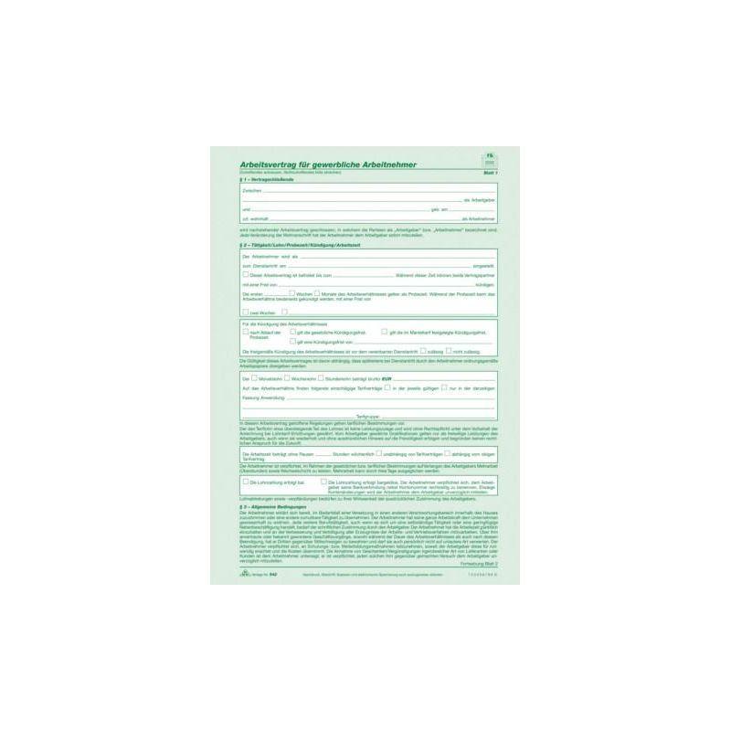 Arbeitsvertrag Für Gewerbliche Arbeitnehmer Im Handwerk  Arbeitsvertrag für gewerbliche Arbeitnehmer SD 2 x 2