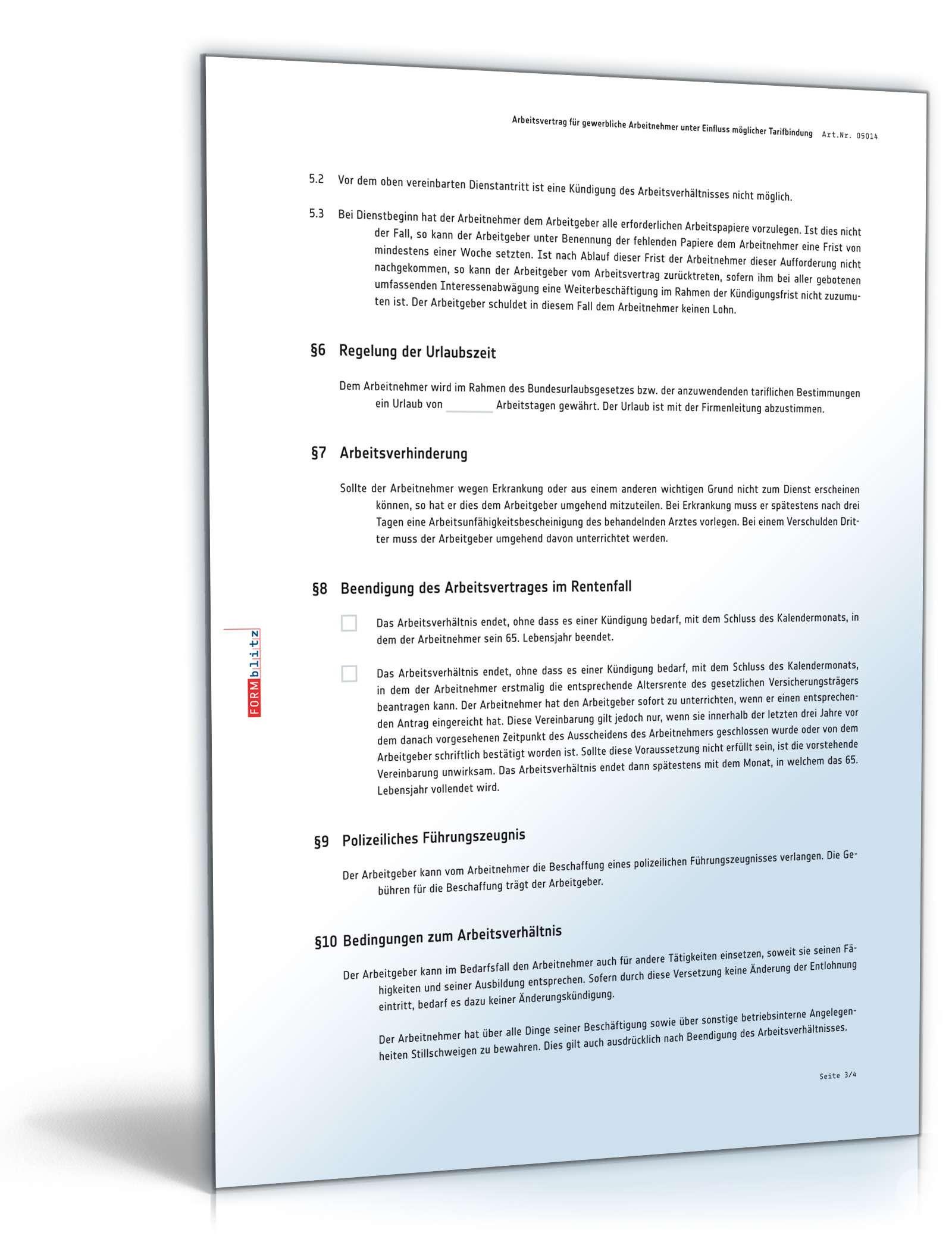 Arbeitsvertrag Für Gewerbliche Arbeitnehmer Im Handwerk  Arbeitsvertrag gewerbliche Arbeitnehmer Vorlage Tarifbindung