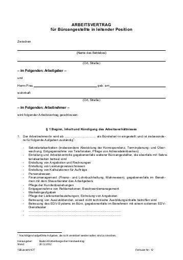 Arbeitsvertrag Für Gewerbliche Arbeitnehmer Im Handwerk  arbeitsvertrag ohne tarifbindung Handwerkskammer Konstanz