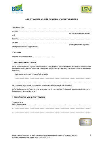 Arbeitsvertrag Für Gewerbliche Arbeitnehmer Im Handwerk  Arbeitsvertrag für gewerbliche Arbeitnehmer des