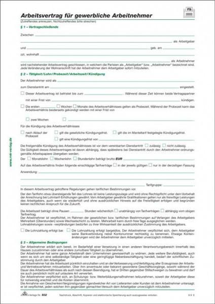 Arbeitsvertrag Für Gewerbliche Arbeitnehmer Im Handwerk  10 x Arbeitsvertrag für gewerbliche Arbeitnehmer