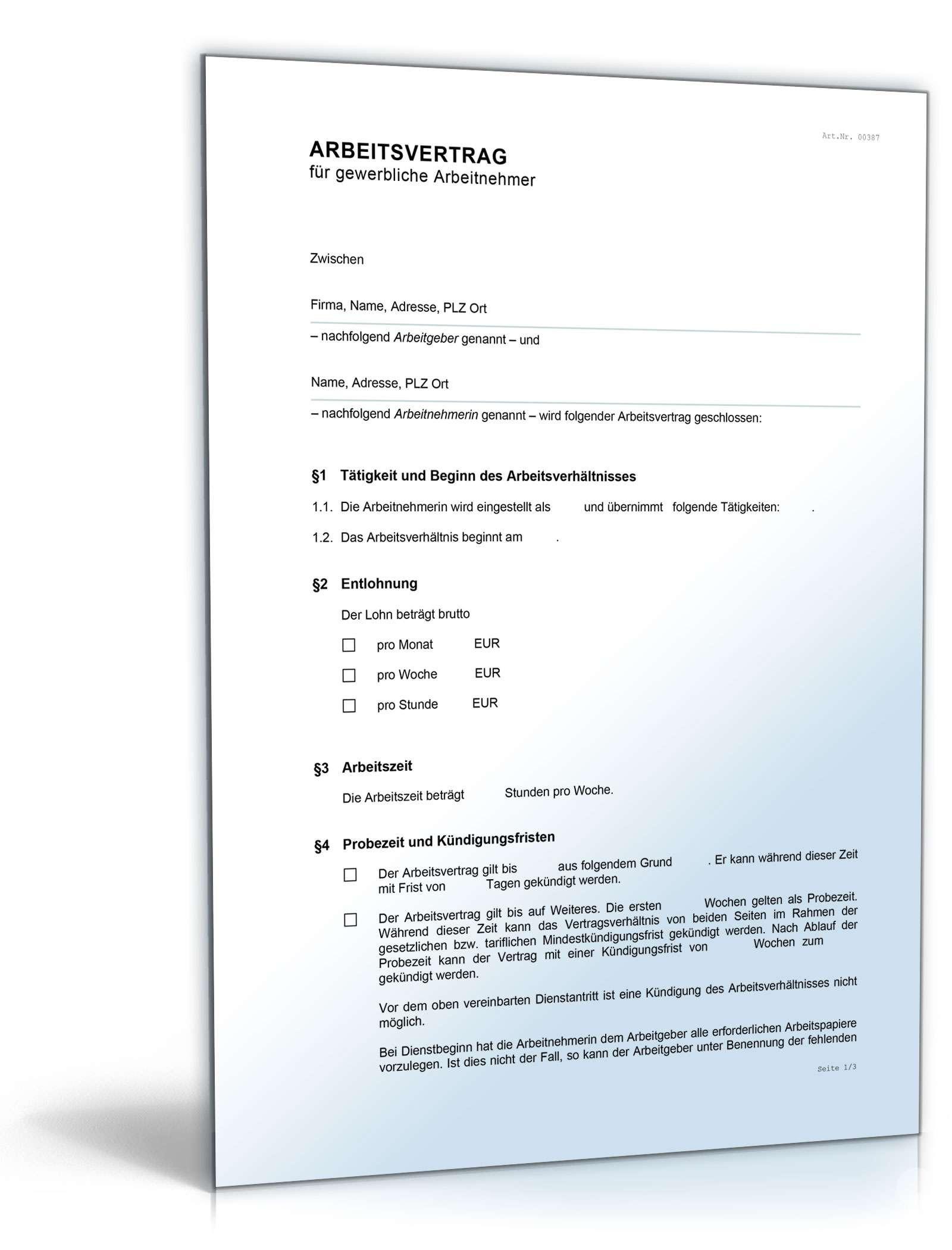 Arbeitsvertrag Für Gewerbliche Arbeitnehmer Im Handwerk  Arbeitsvertrag gewerbliche Arbeitnehmer Muster zum Download