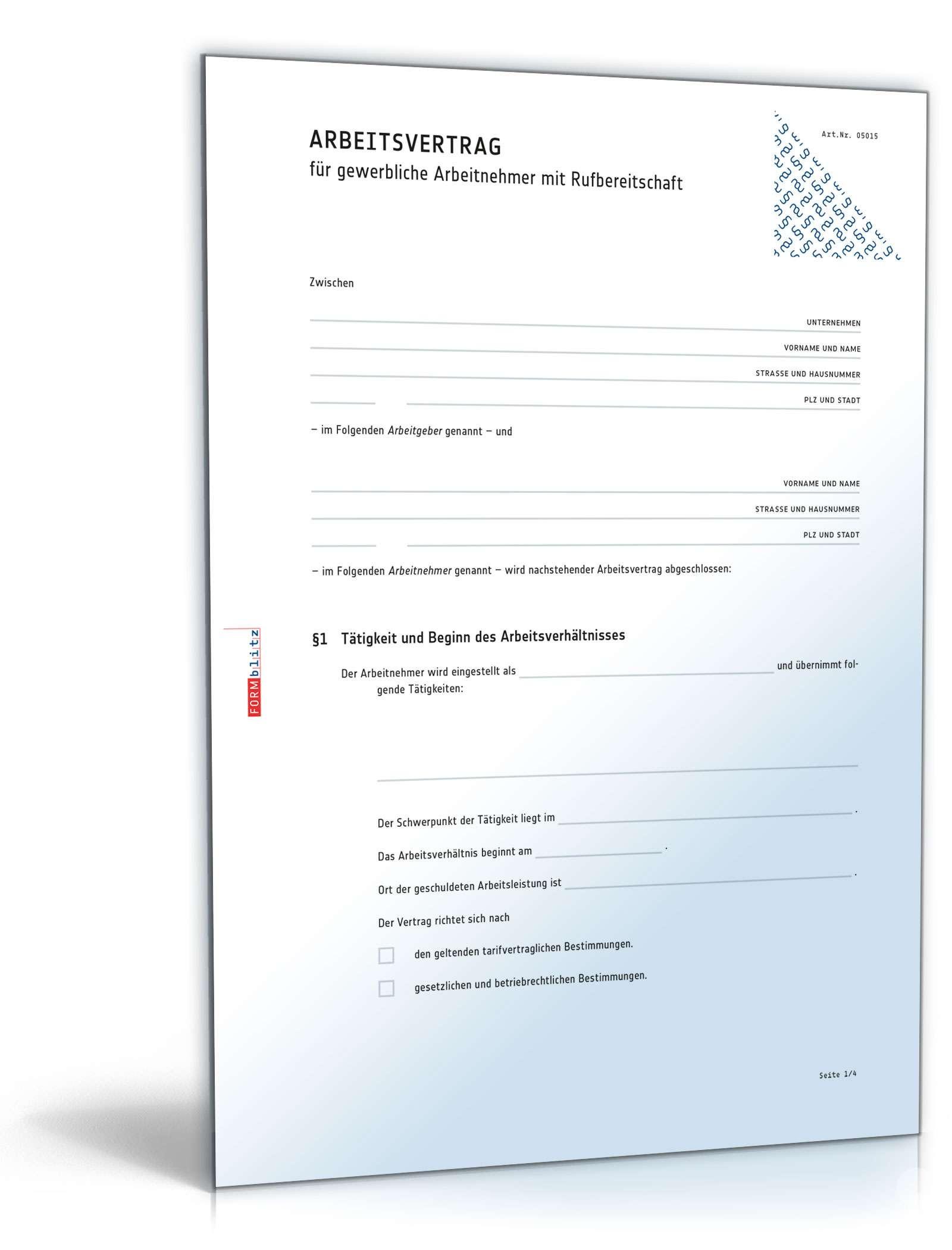 Arbeitsvertrag Für Gewerbliche Arbeitnehmer Im Handwerk  Arbeitsvertrag Rufbereitschaft