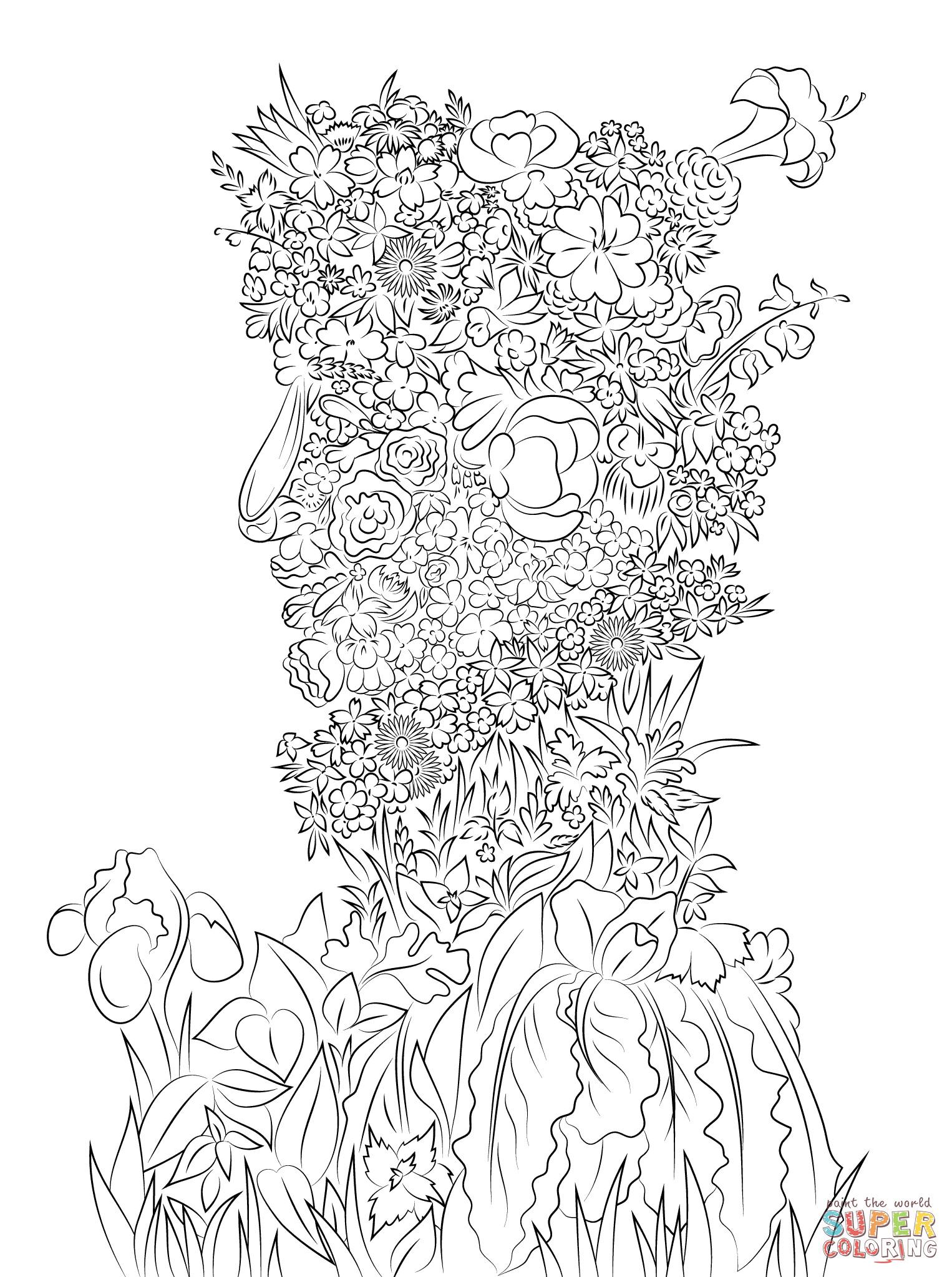 Arcimboldo Ausmalbilder  Coloriage Le printemps par Giuseppe Arcimboldo