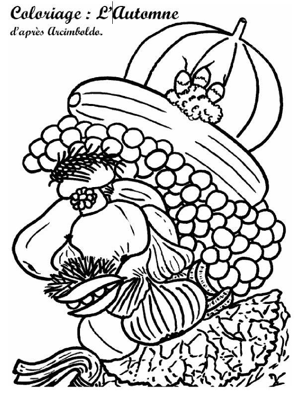 Arcimboldo Ausmalbilder  Coloriage d automne Timoléon art Pinterest
