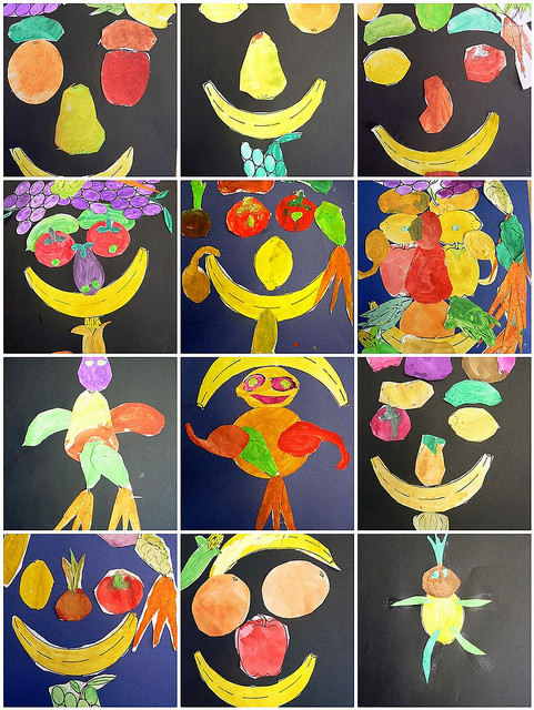 Arcimboldo Ausmalbilder  Kinder gestalten Arcimboldo