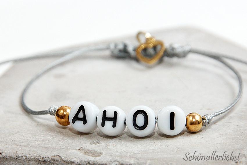 Armband Verschluss Diy  DIY Armband mit Buchstabenperlen und Makramee Verschluss