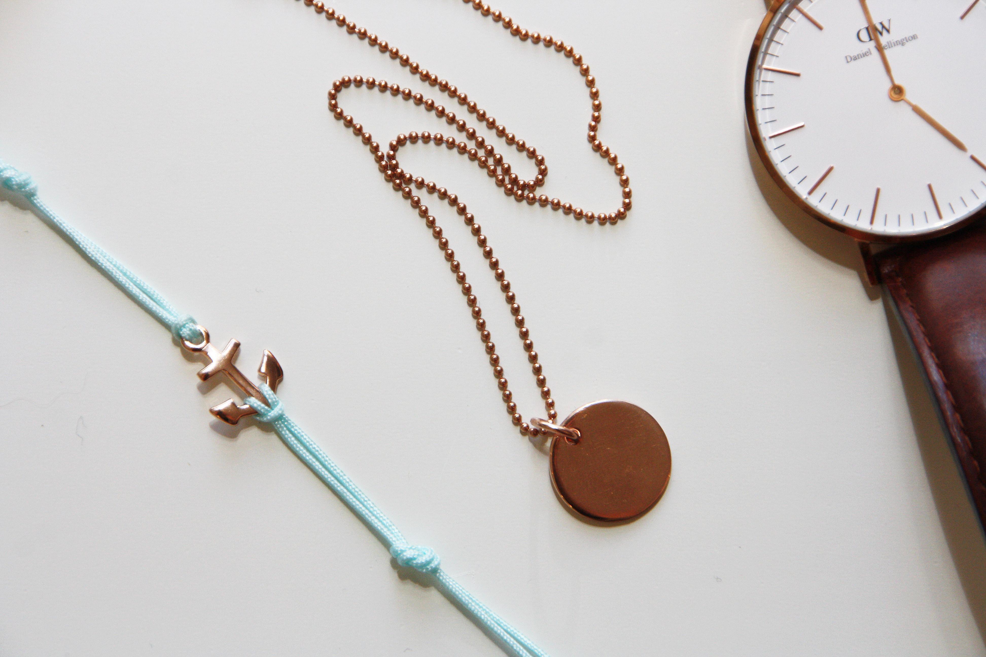 Armband Verschluss Diy  Rosegoldene Kette mit passendem Anker Armband