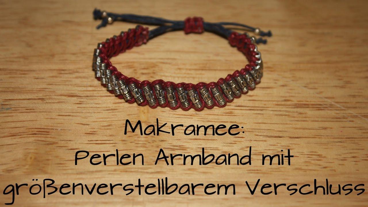 Armband Verschluss Diy  Makramee Perlen Armband mit größenverstellbarem