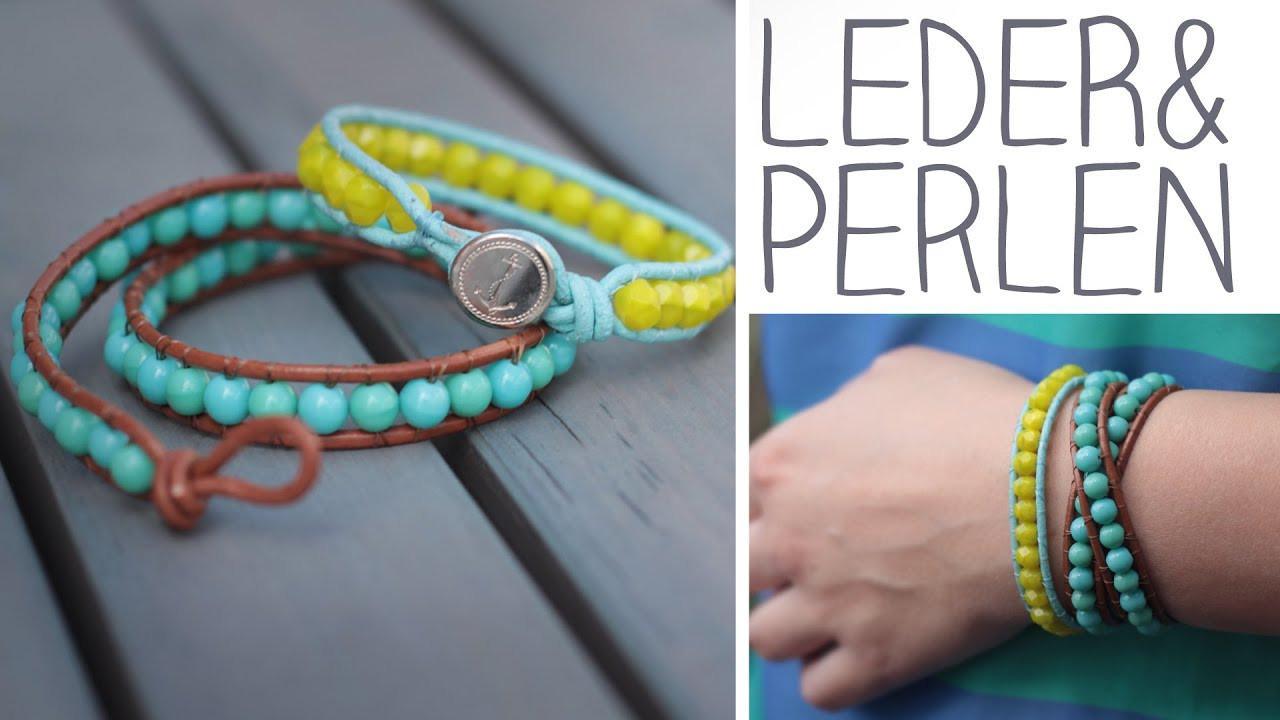 Armband Verschluss Diy  DIY Leder Perlen Armband zum Umwickeln Knopf oder