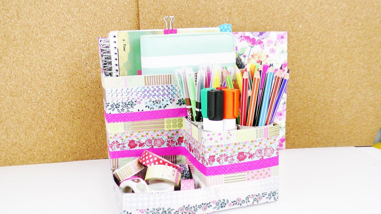 Aufbewahrung Diy  DIY Schreibtisch Aufbewahrung selber machen