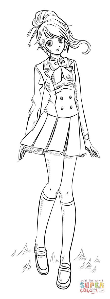 Ausmalbilder Anime Mädchen  Ausmalbild Anime Mädchen