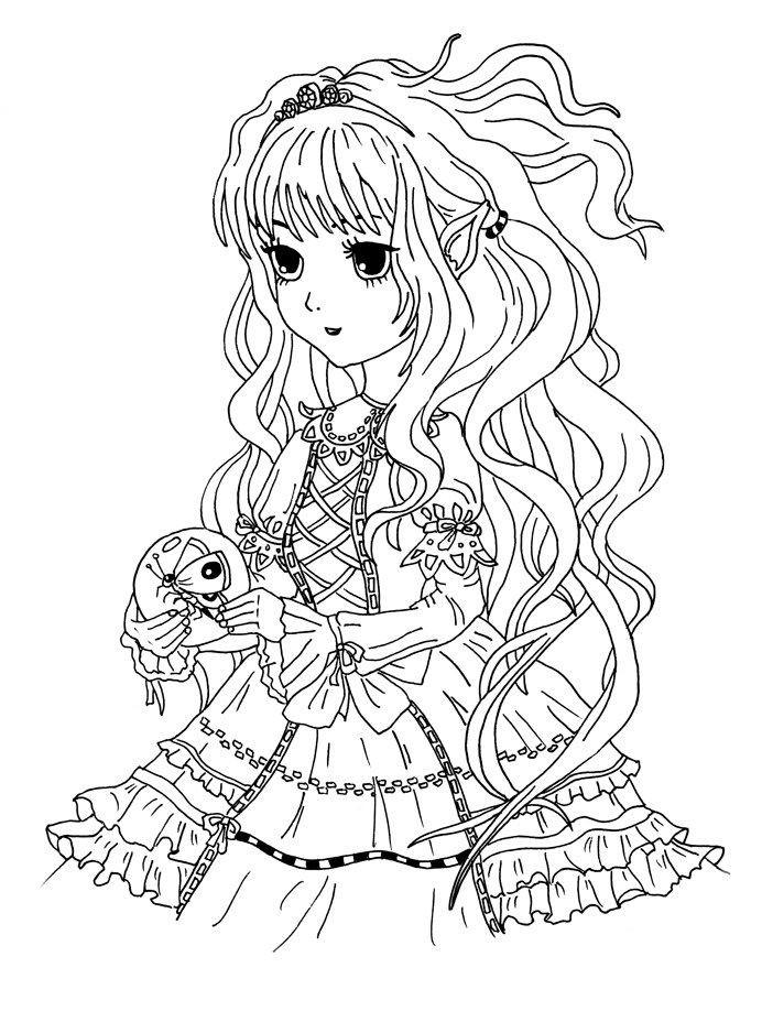 Ausmalbilder Anime Mädchen  Ausmalbild Manga Mädchen mit Schmetterling kostenlos zum