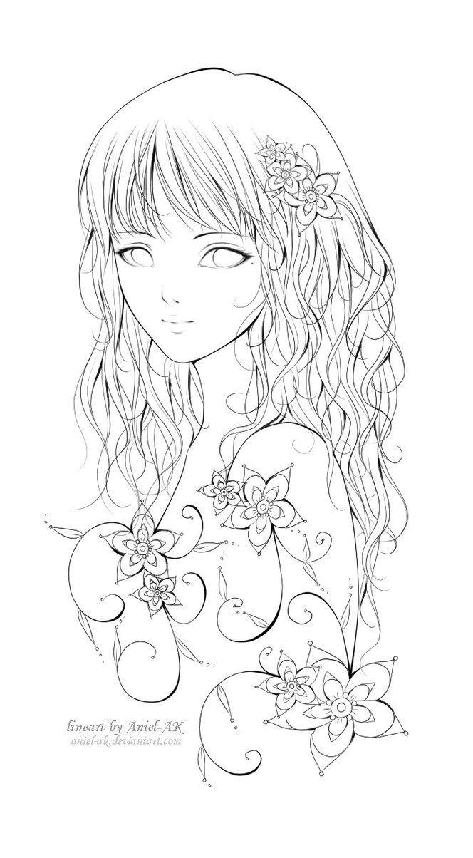 Ausmalbilder Anime Mädchen  Anime Manga girl Mädchen Zeichnung fablos Blumen