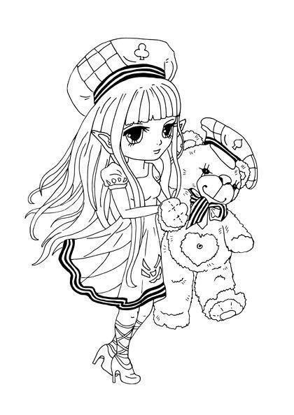 Ausmalbilder Anime Mädchen  Kostenloses Ausmalbild Manga Mädchen mit Teddybär gratis