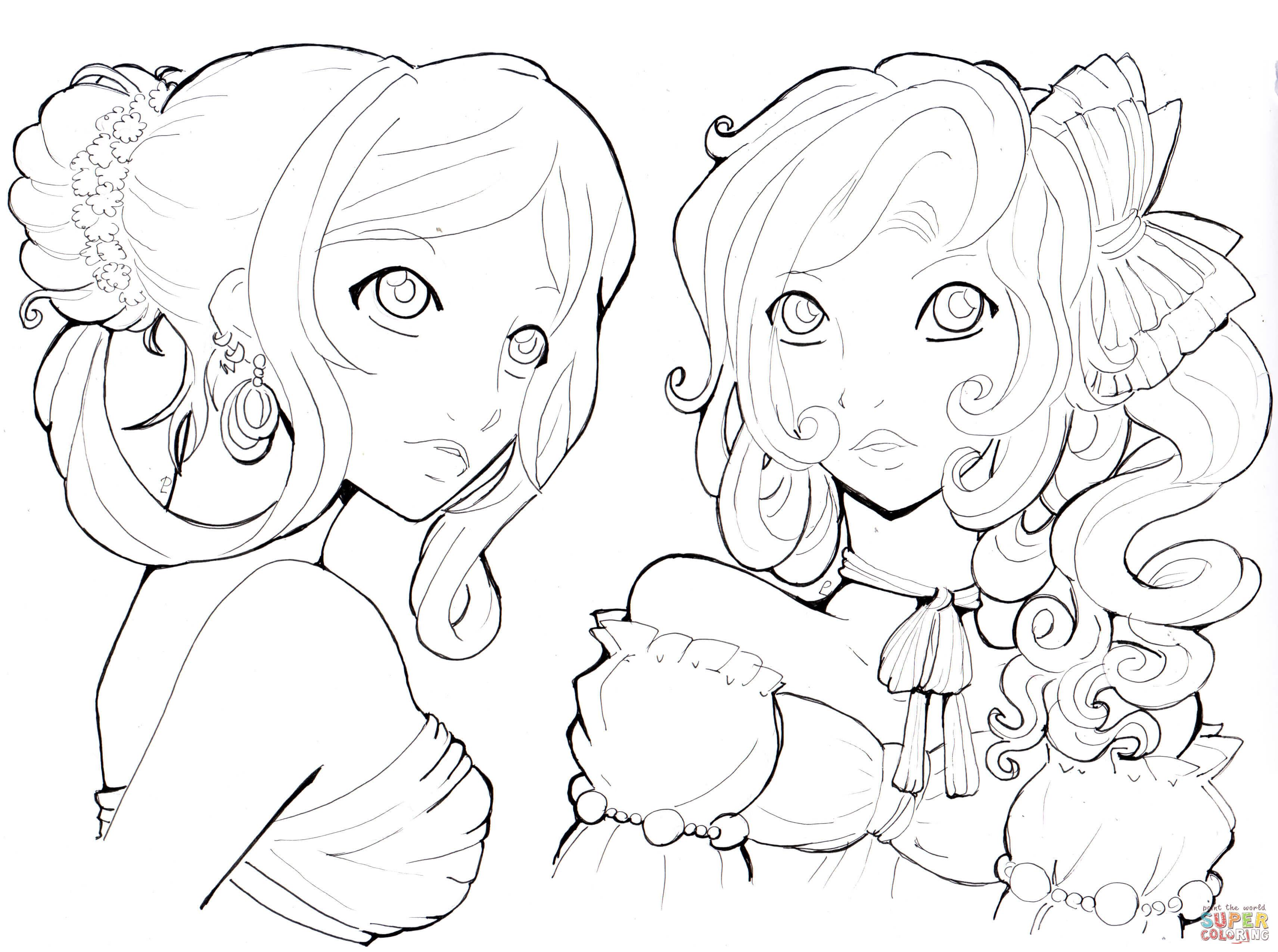 Ausmalbilder Anime Mädchen  Ausmalbilder Anime Mädchen Malvorlagen Kostenlos Zum