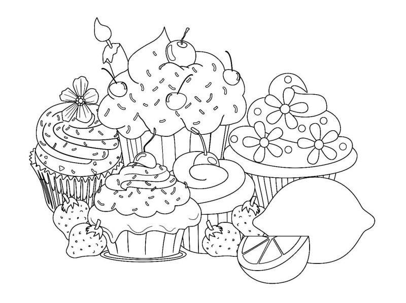 Ausmalbilder Cupcake  Cupcake Ausmalbilder für Erwachsene kostenlos zum Ausdrucken 1