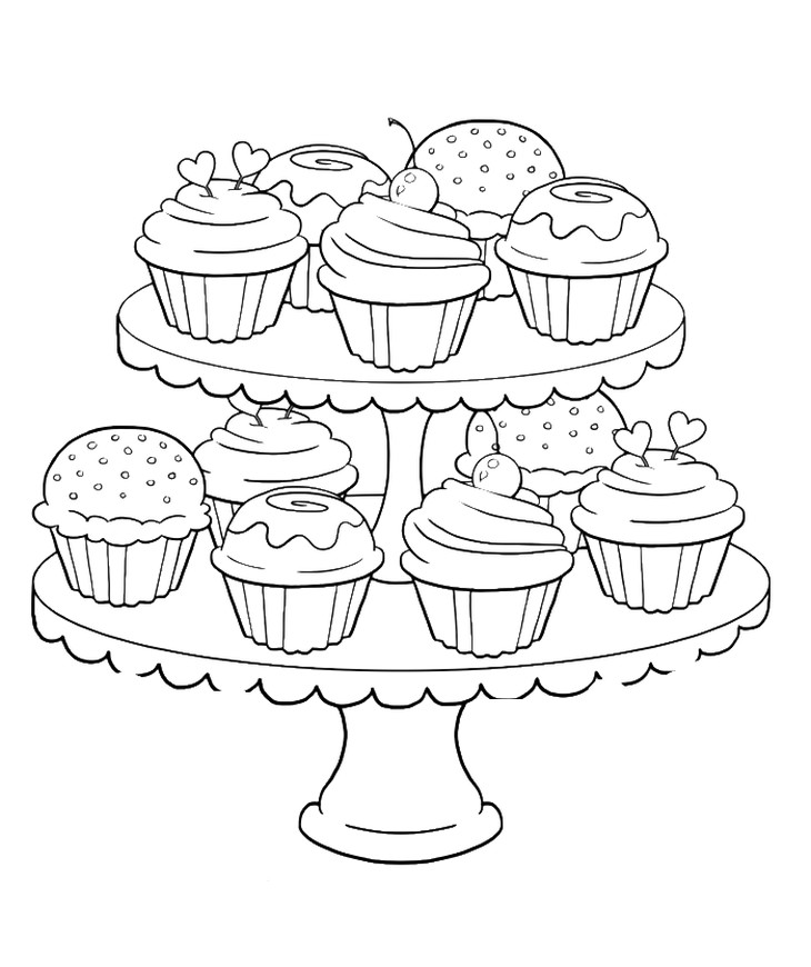 Ausmalbilder Cupcake  Many sweet and tasty Cupcakes coloring page for kids