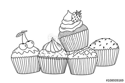 """Ausmalbilder Cupcake  """"Super lecker Probier doch """" Stockfotos und"""