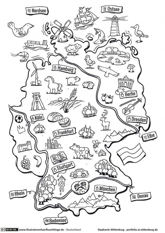 Ausmalbilder Deutschland  Deutschland Deutschlandkarte Wittenburg