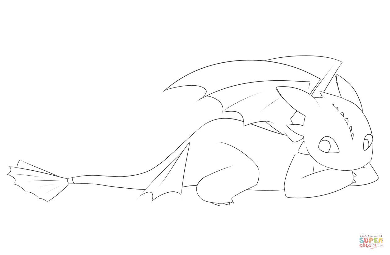 Ausmalbilder Dragons Ohnezahn  Ausmalbild Niedlicher Ohnezahn