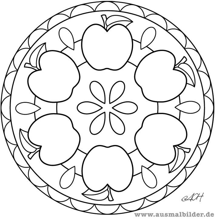 Ausmalbilder Erntedank  apfel mandala Apfel Pinterest