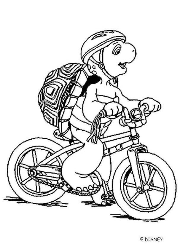Ausmalbilder Fahrrad  Franklin mit fahrrad zum ausmalen zum ausmalen de