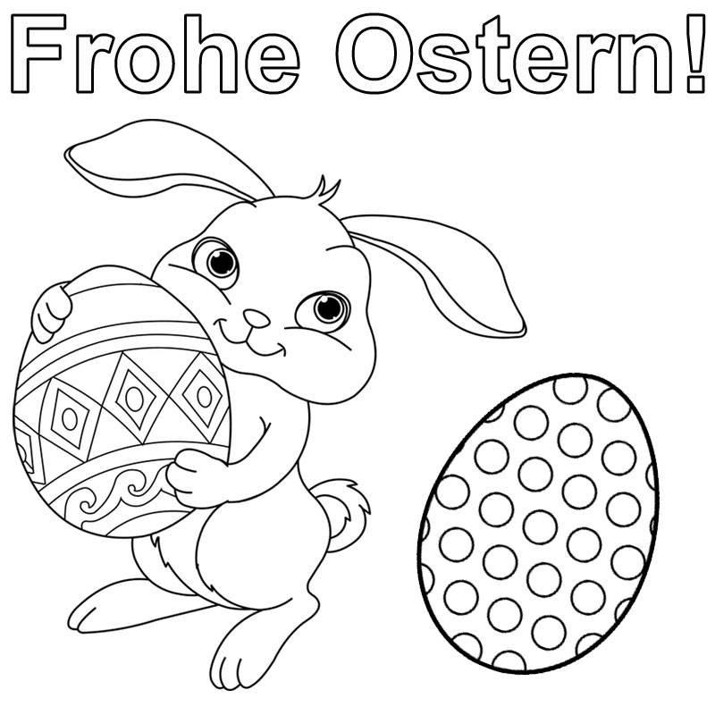 Ausmalbilder Für Ostern  Kostenlose Malvorlage Ostern Hase wünscht frohe Ostern