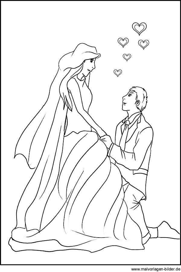Ausmalbilder Hochzeit Kostenlos  Ausmalbilder hochzeit kostenlos Malvorlagen zum