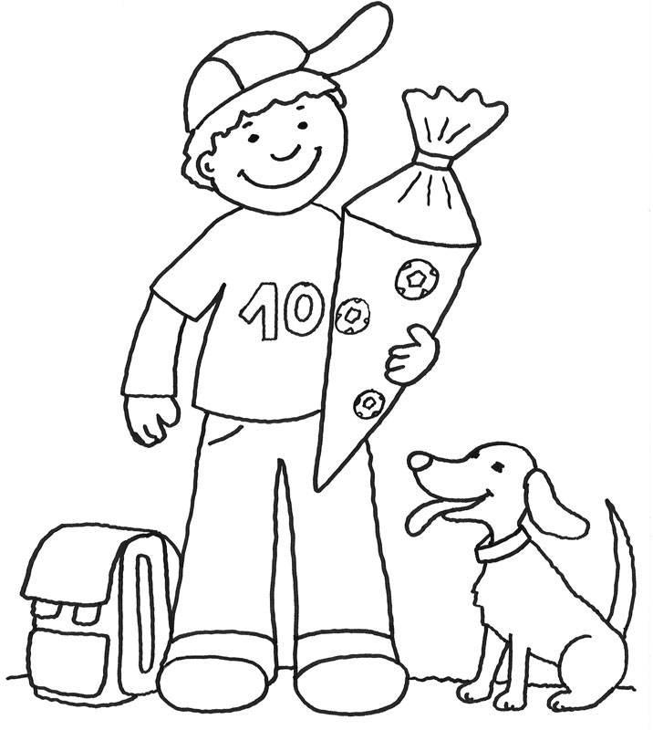 Ausmalbilder Junge  Kostenlose Malvorlage Einschulung Junge mit Schultüte zum
