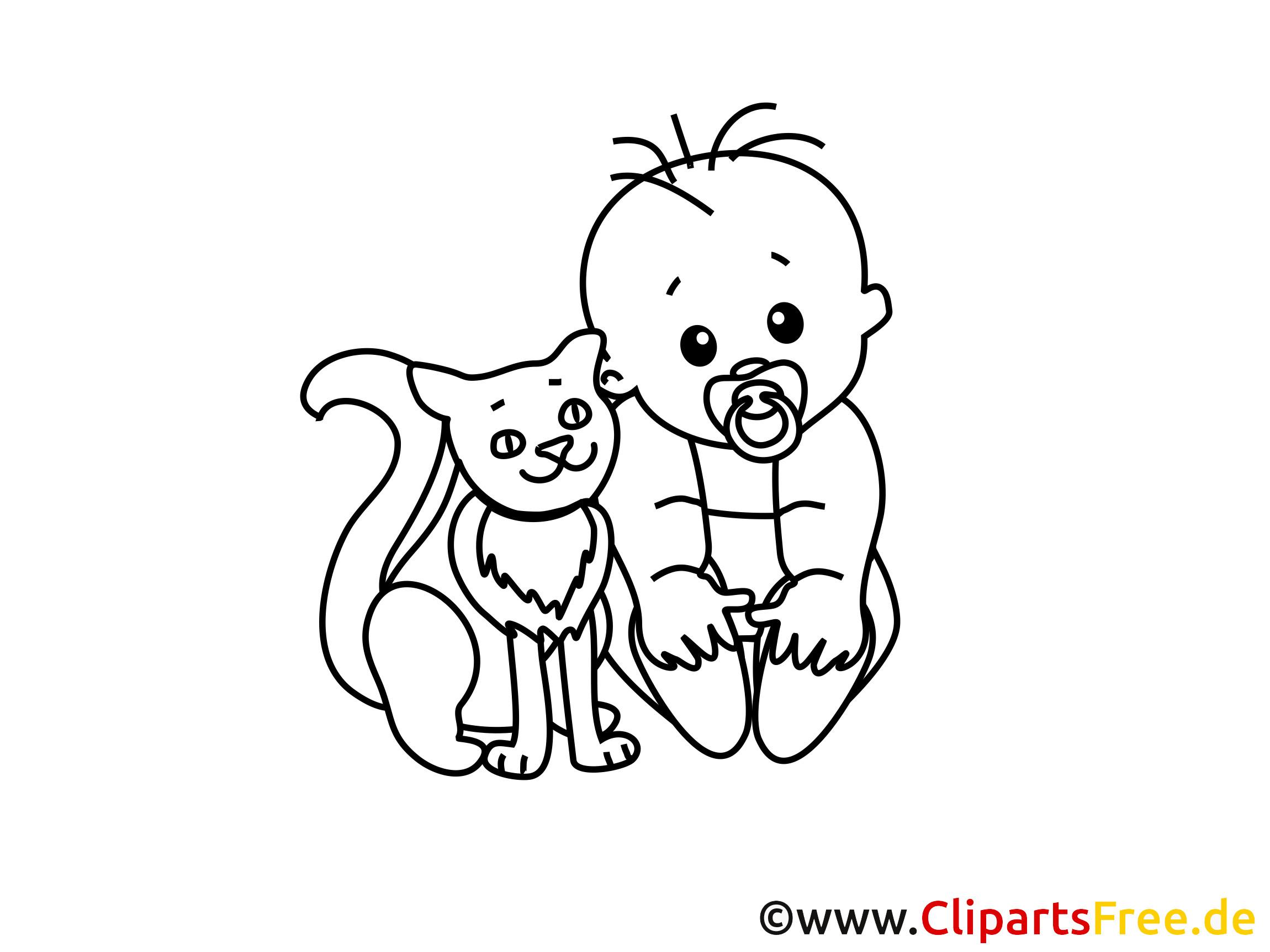 Ausmalbilder Junge  Gratis Ausmalbild Junge Baby mit Hauskatze