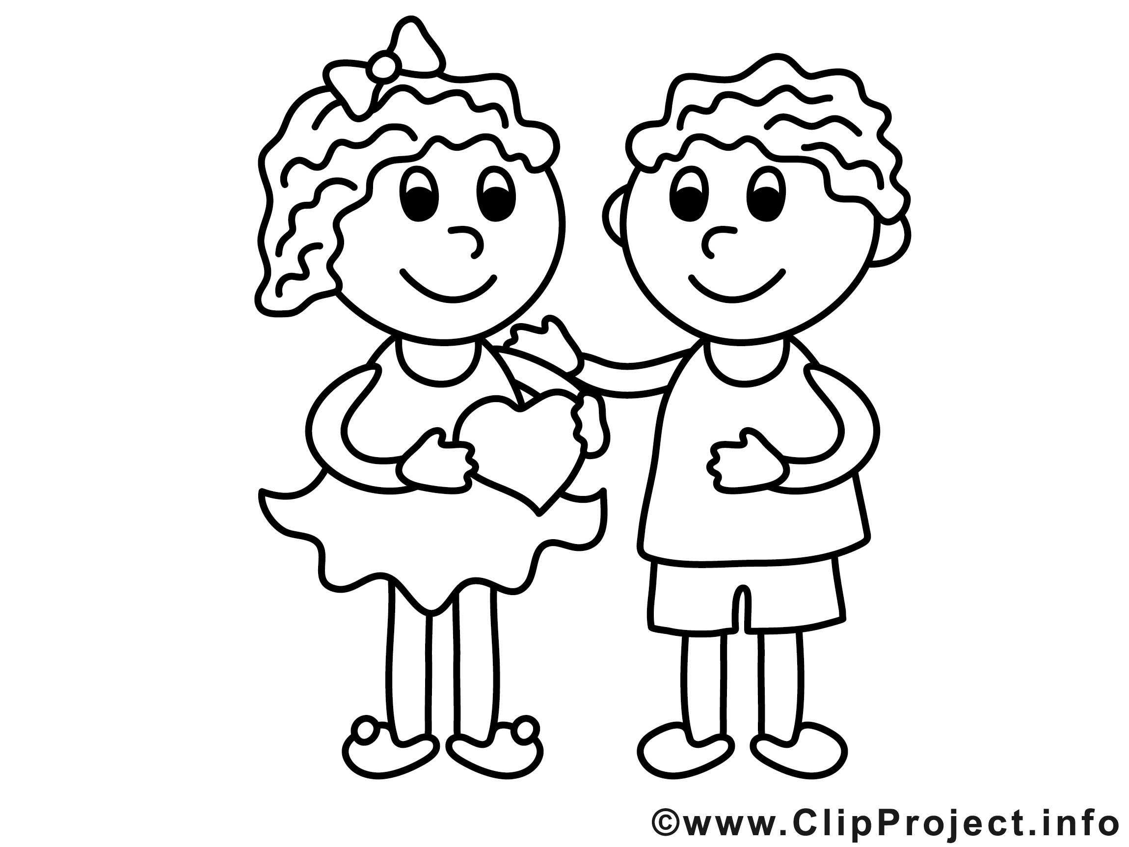 Ausmalbilder Mädchen  Mädchen und Junge Valentinstag Ausmalbilder für Kinder
