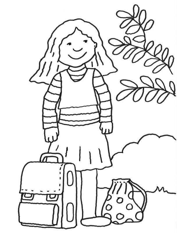 Ausmalbilder Mädchen  Kostenlose Malvorlage Einschulung Mädchen mit Schultasche