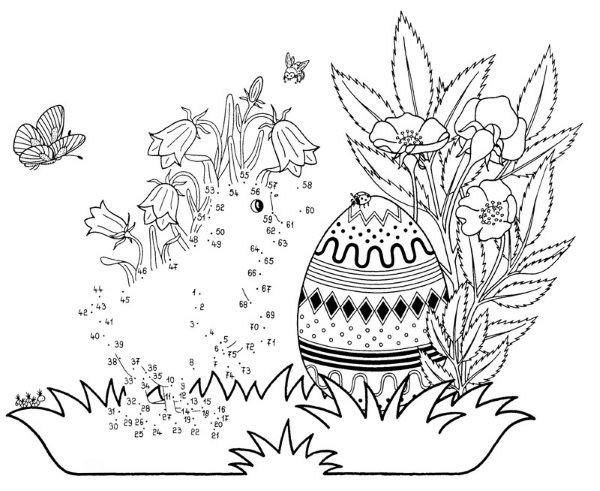 Ausmalbilder Osterküken  Dibujo de unir puntos de un polluelo de Pascua dibujo