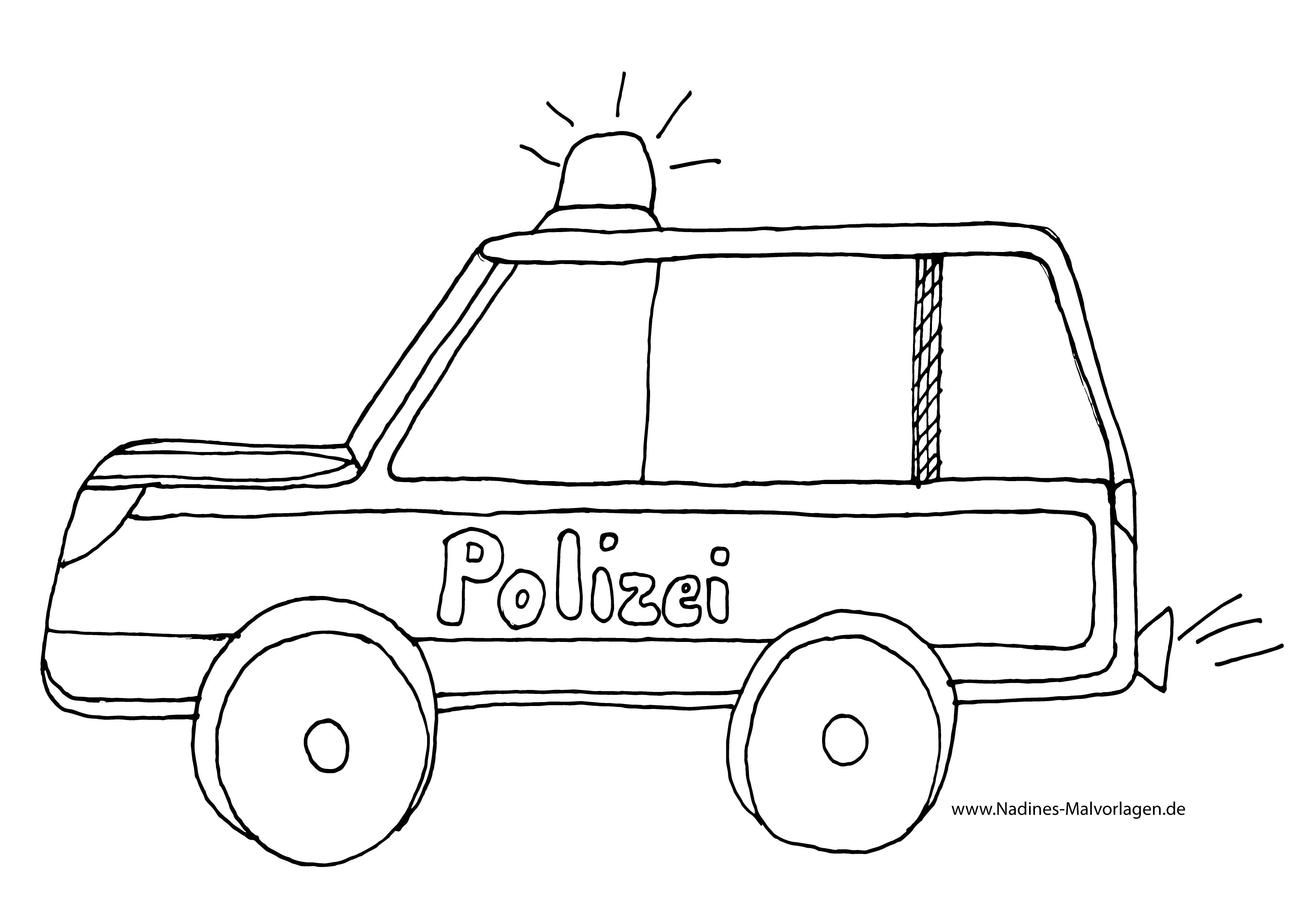 Ausmalbilder Polizeiauto  Polizeiauto mit Blaulicht Ausmalbild Nadines Ausmalbilder