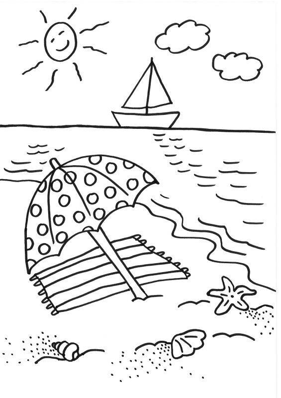 Ausmalbilder Strand Und Meer  Kostenlose Malvorlage Sommer Sonnenschirm ausmalen zum