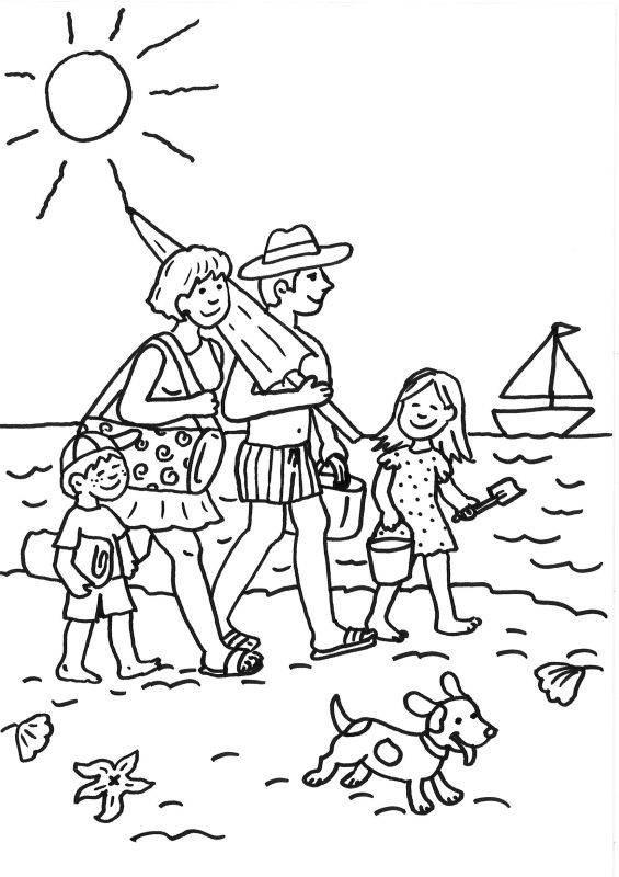 Ausmalbilder Strand Und Meer  Kostenlose Malvorlage Sommer Familie am Strand ausmalen