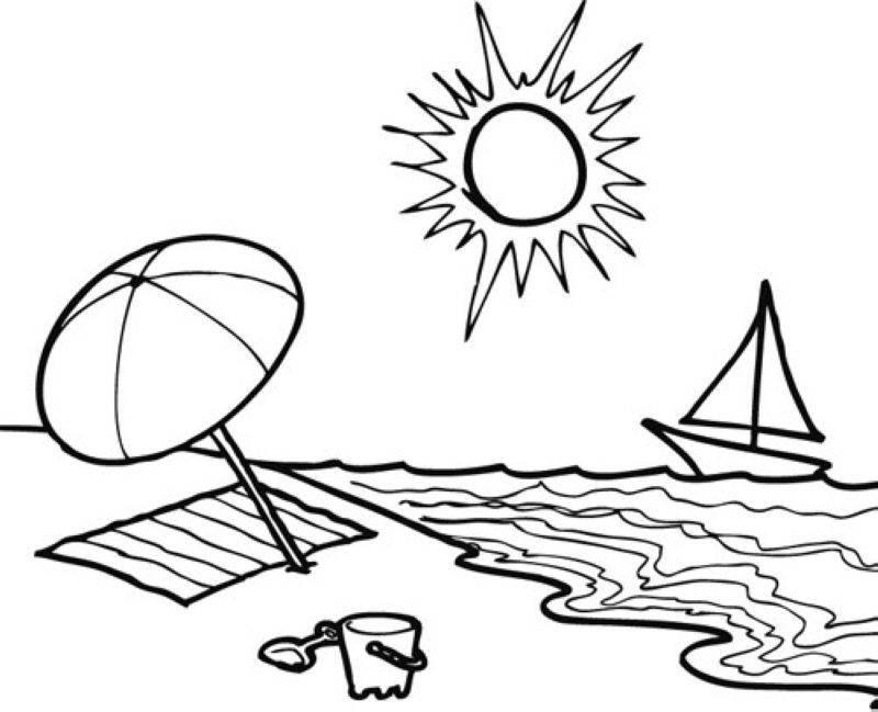 Ausmalbilder Strand Und Meer  Kostenlose Malvorlage Sommer Sommertag am Strand zum Ausmalen