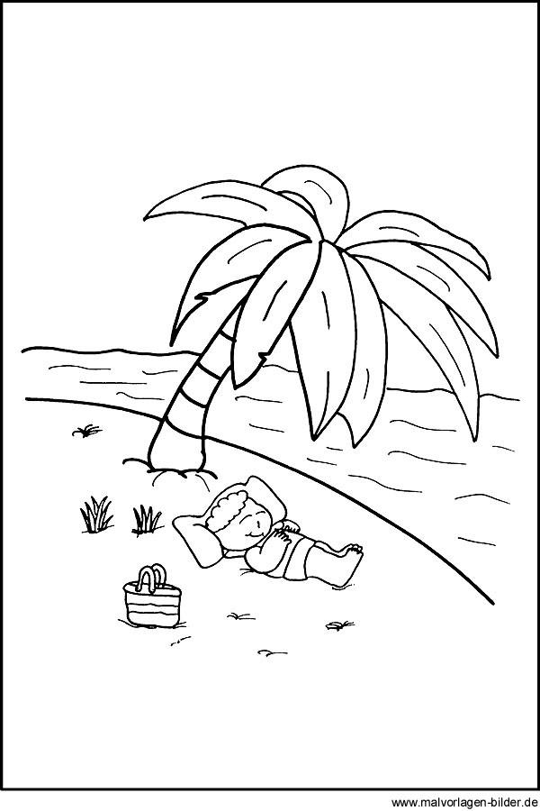 Ausmalbilder Strand Und Meer  Malvorlage Junge im Urlaub am Meer
