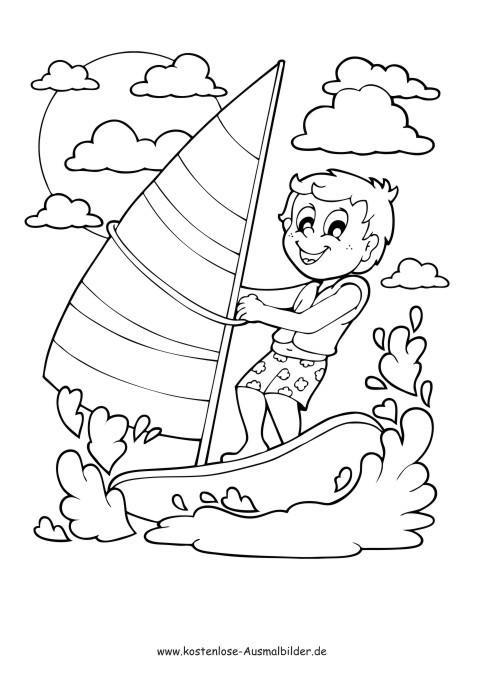 Ausmalbilder Strand Und Meer  Junge segelt Sommer ausmalen